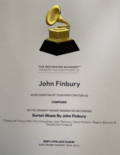 John Finbury 2020 Grammy Certificate Sorte Photo