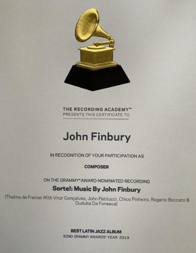 John Finbury 2020 Grammy Certificate Sorte Photo