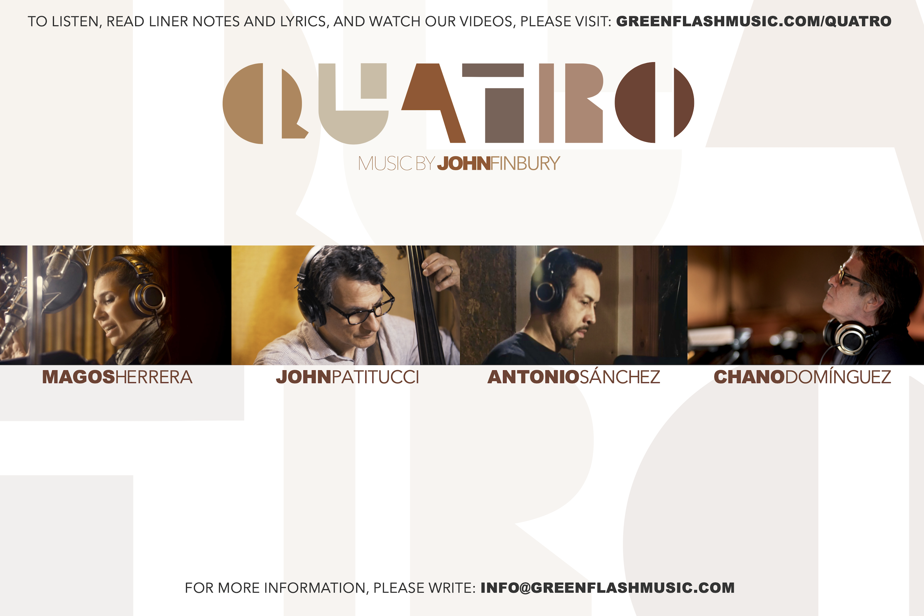 Quatro-Postcard-Back Photo By John Finbury Green Flash Music